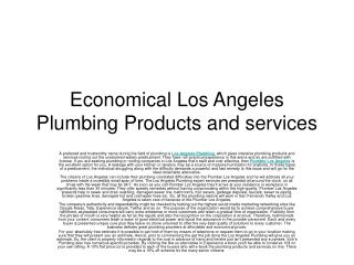 Economical Los Angeles Plumbing Products and services