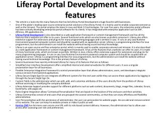 Liferay Portal Development and its features