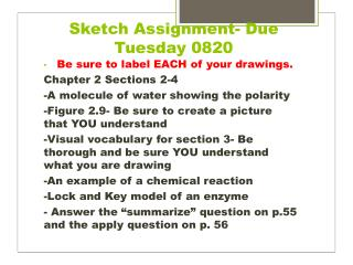 Sketch Assignment- Due  Tuesday 0820