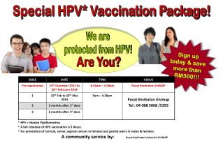 Special HPV* Vaccination Package!