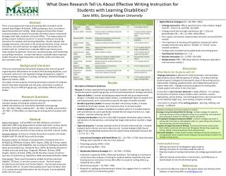 What Does Research Tell Us About Effective Writing Instruction for  Students with Learning Disabilities Sara Mills, Geor