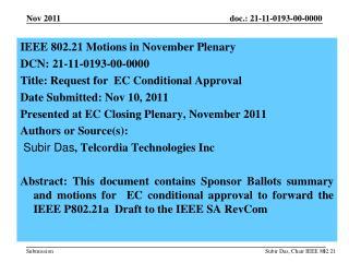 IEEE  802.21 Motions in  November  Plenary  DCN:  21-11-0193-00-0000