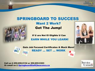 SPRINGBOARD TO SUCCESS  Want 2 Work? Get  The  Jump!