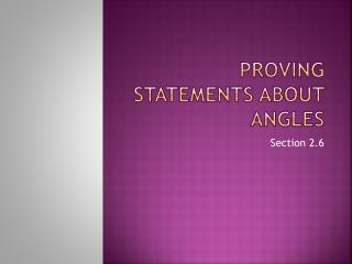 Proving Statements About Angles