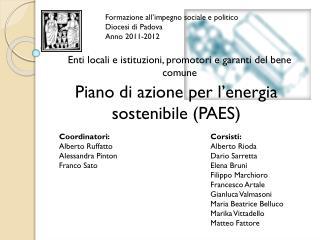 Formazione all'impegno sociale e politico Diocesi di Padova Anno 2011-2012