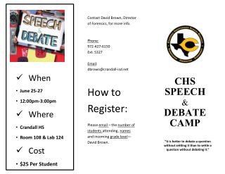 CHS Speech & Debate Camp