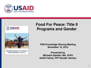 Food For Peace: Title II Programs and Gender