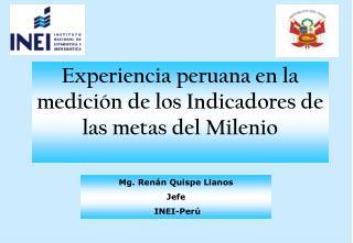 Experiencia peruana en la medici n de los Indicadores de las metas del Milenio