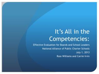It's All in the Competencies: