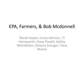 EPA, Farmers, & Bob  Mcdonnell