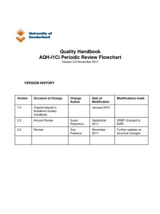 Quality Handbook AQH-I1Ci  Periodic Review Flowchart Version 3.0 November 2011