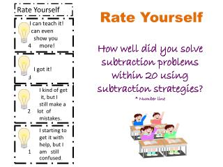 Rate Yourself How well did you solve subtraction problems within 20 using subtraction strategies?