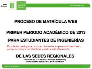 PROCESO DE  MATR�CULA  WEB