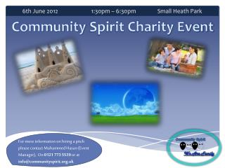 6th June 2012        	 1:30pm – 6:30pm         	Small Heath Park