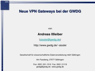 Neue VPN Gateways bei der GWDG