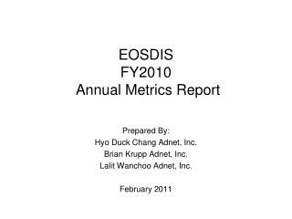 EOSDIS  FY2010  Annual Metrics Report