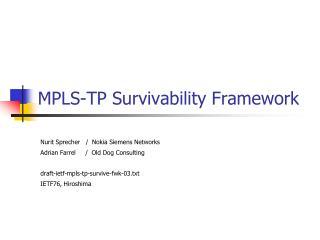 MPLS-TP Survivability Framework
