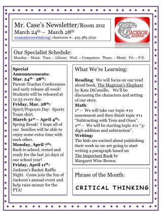 Mr. Case's Newsletter /Room 202 March 24 th  –  March 28 th