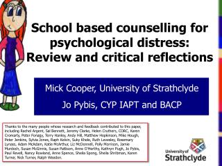 School based counselling for psychological  distress: Review and critical reflections