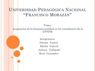 """Universidad Pedagógica Nacional  """"Francisco Morazán"""""""