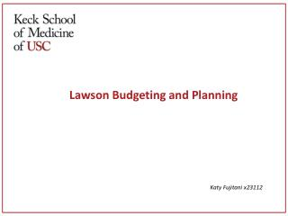 Lawson  Budgeting and Planning