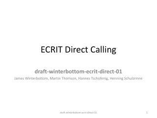 ECRIT Direct Calling