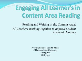 Engaging All Learner's in Content Area Reading