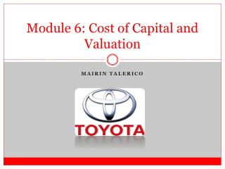 Module  6 : Cost of Capital and Valuation