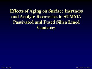 Effects of Aging on Surface Inertness and Analyte Recoveries in SUMMA Passivated and Fused Silica Lined Canisters