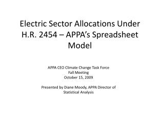 Electric Sector Allocations Under H.R. 2454 – APPA's Spreadsheet Model