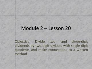 Module 2 – Lesson 20