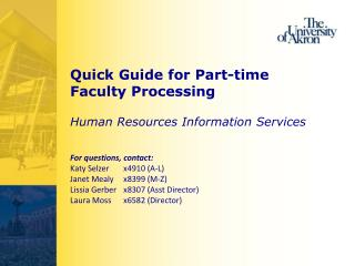Quick Guide for Part-time Faculty Processing