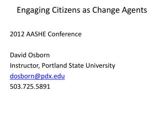 Engaging  Citizens as Change  Agents