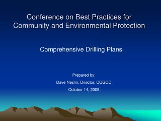 Conference on Best Practices for Community and Environmental Protection