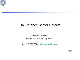 UN Defence Sector Reform