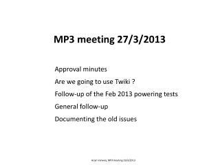 MP3 meeting 27/3/2013