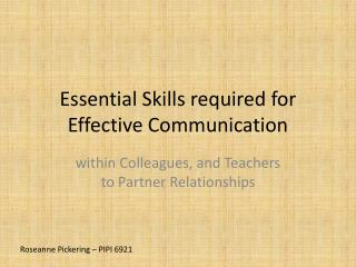Essential Skills required for Effective Communication
