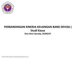PERBANDINGAN KINERJA KEUANGAN BANK DEVISA ( Studi Kasus Dian Nisvi Apriady, 20206247