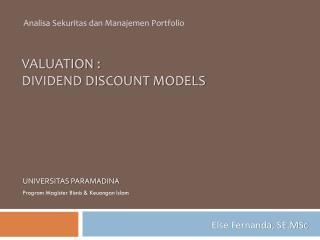 VALUATION : Dividend DISCOUNT MODELS