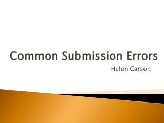 Common Submission Errors