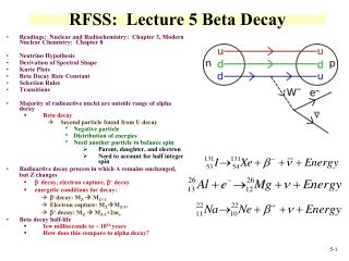 RFSS:  Lecture 5 Beta  Decay