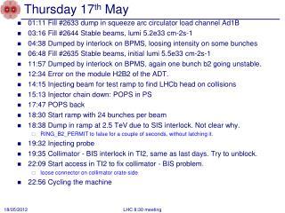 Thursday 17 th  May