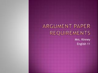 Argument Paper Requirements