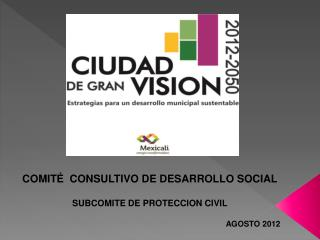 COMITÉ  CONSULTIVO DE DESARROLLO SOCIAL SUBCOMITE DE PROTECCION CIVIL AGOSTO 2012