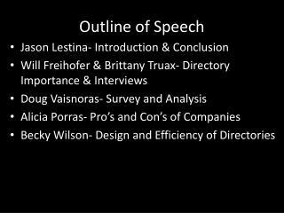 Outline of Speech