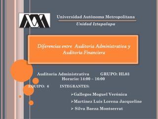 Diferencias entre  Auditoria Administrativa y  Auditoria Financiera