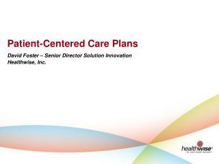 Patient-Centered Care Plans