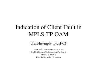 Indication of Client Fault in MPLS-TP OAM
