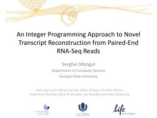 An Integer Programming Approach to Novel Transcript Reconstruction from Paired-End RNA- Seq  Reads