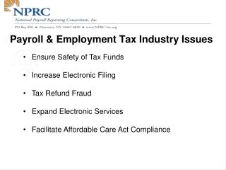Payroll & Employment Tax Industry Issues